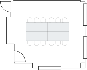 2D floorplan with example Board Room (Conference) setup